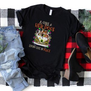 Leopard Car A Girl And Her Dogs Living Life In Peace Cute T Shirt