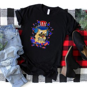 Patriotic America Pug Gamer Fireworks Gaming Pugs Video Game T Shirt