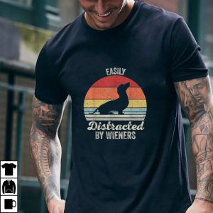 Vintage Retro Easily Distracted By Wieners Dachshund Dog T Shirt