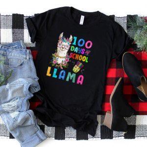 100 Days Of School No Probllama 100th Day Llama Girl Women T Shirt