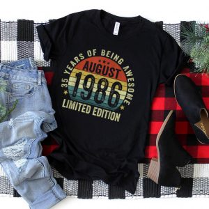 35 Years Old Decorations Vintage August 1986 35th Birthday T Shirt