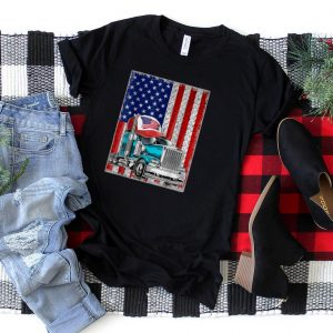 4th Of July Trucker American Flag With Sunglassed Hat T Shirt