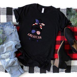 All American Girls 4th of July Shirt Daughter Messy Bun USA T Shirt