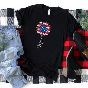 American Flag Sunflower Graphic 4th of July Plus Size T Shirt