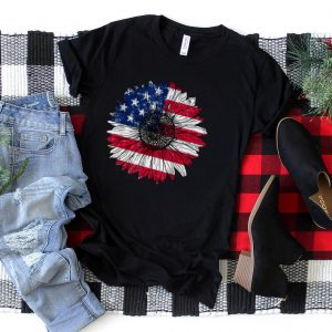 American Flag Sunflower Graphic 4th of July T Shirt