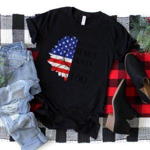 American Flag Sunflower She's Loves Jesus and America Too T Shirt