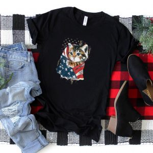 Baby Cat in American flag T Shirt