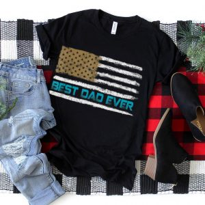 Mens American Flag With Best Dad Ever For 4th Of July T Shirt