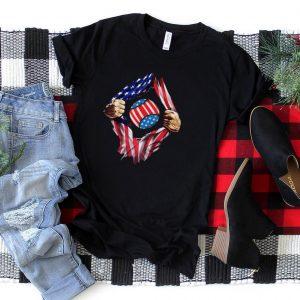 Mens Baseball Super Baseball American Flag 4th of July T Shirt
