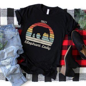 Vintage Retro Crazy Elephant Lady T Shirt