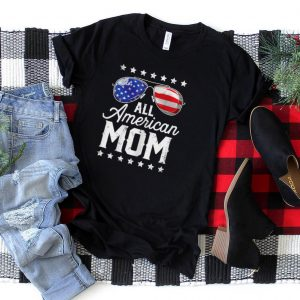 Womens All American Mom 4th of July T shirt Boys Kids Sunglasses T Shirt