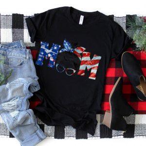 Womens Mom Life Messy Bun Hair American Flag 4th Of July T Shirt